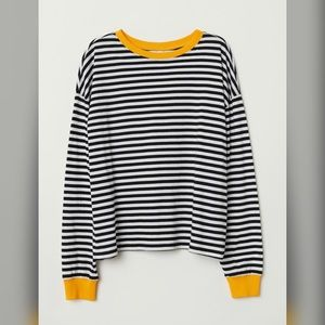 Black/White Striped Long Sleeves.